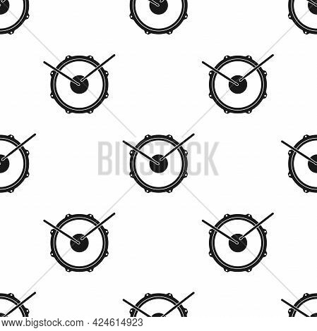 Seamless Ornament With Snare Drum And Drumsticks. Rock Music Pattern. Drummer, Rock School Or Rock B
