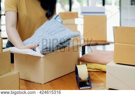 Online Small Business Owner. Young Startup Entrepreneur Online Small Business Owner Working At Home,