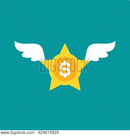 Gold Dollar Star With White Wings. Flat Icon Isolated On Blue Background. Flying Money Award, Prize.