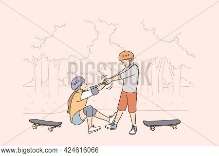 Helping Hand And Friendship Concept. Small Boy Cartoon Character Helping His Friend Girl To Get Up A