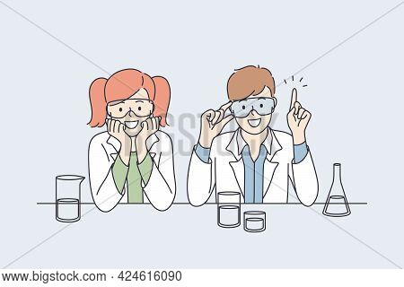 Laboratory Research And Tests For Kids Concept. Smiling Happy Small Boy And Girl Children Cartoon Ch