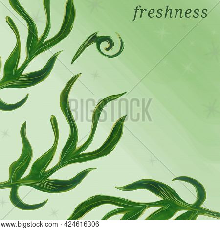 Green Beautiful Leafs In Aquarelle Style, Freshness