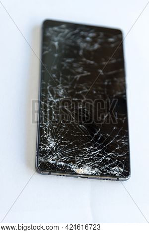 Cell Phone Display With Cracks And Cracks - Broken And Defective, Optional Picture