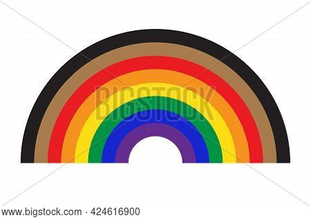 Rainbow Icon With New Pride Flag Lgbtq. Redesign Including Black And Brown Stripes. Flat Vector Illu
