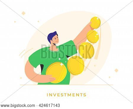 Happy Man Standing Alone And Holding Five Golden Coins As An Investor. Flat Vector Illustration Of S