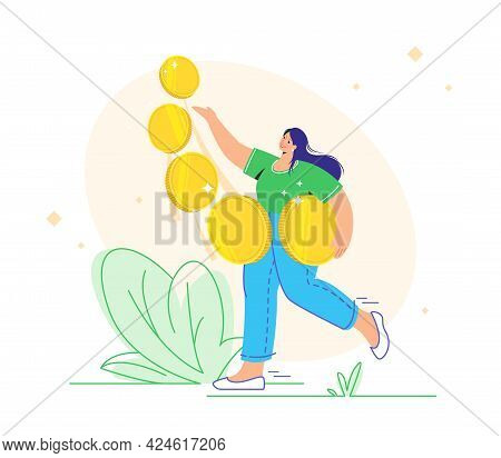 Young Woman Carrying Five Golden Coins And Enjoying Profits As An Investor. Flat Vector Illustration