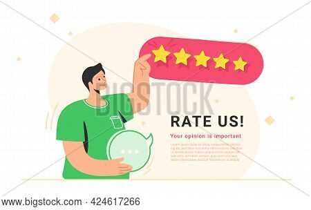 Rate Us For 5 Stars Consumer Review. Flat Vector Illustration Of Smiling Man Standing Alone, Holding
