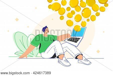 Young Man Sitting Alone With Laptop And Enjoying Profits As An Investor. Flat Vector Illustration Of