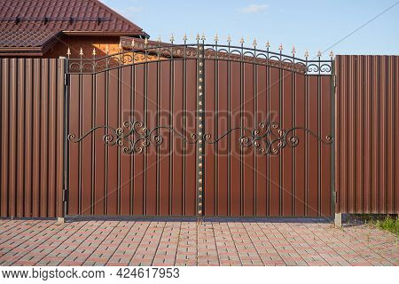 Simple Forged Gates With Metal Profile Sheet