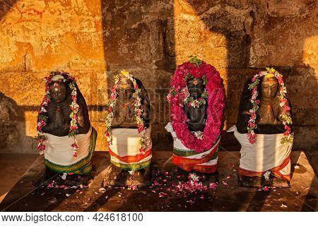 Hindu deities statues in Brihadishwara Temple, Tanjore Thanjavur, Tamil Nadu, India. Brihadishwarar Temple - the Greatest of Great Living Chola Temples - UNESCO World Heritage Site