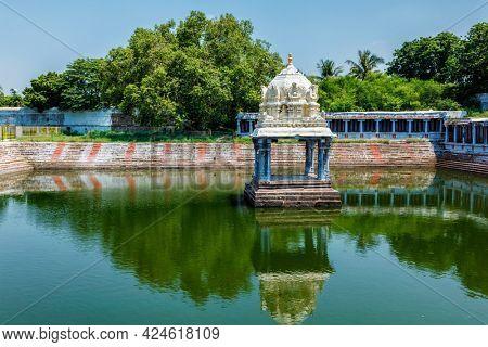Temple tank of Ekambareswara Ekambareswarar Temple in Kanchipuram, Tamil Nadu, India