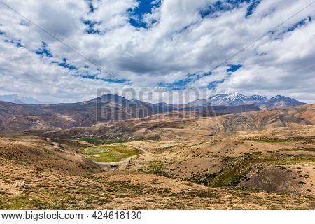 Langza - high altitude village in Himalayas. Spiti Valley, Himachal Pradesh, India