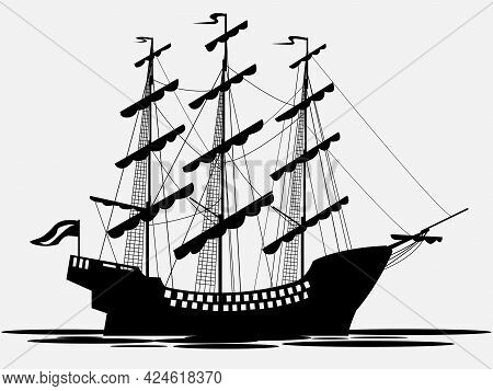 Vector Black And White Drawing Of A Sailboat With Lowered Sails For Printing On Walls, Covers, Cloth