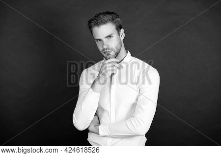 Middle Chain Management. Man Formal Shirt. Formal Fashion. Workers Experiencing Unemployment In Down