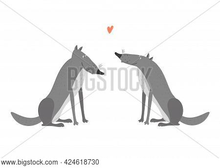 Two Wolves In Love Isolated On A White Background. Gray Wolf.