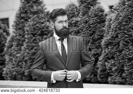 Business Life. Man Businessman Classic Style Urban Park Background. Business Man Bearded Wear Perfec
