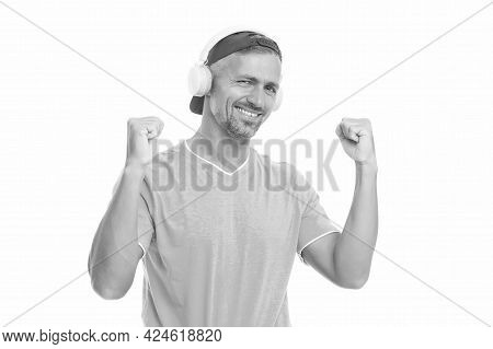 Perfect Sound Concept. Electronic Dance Music And House Tracks. Guy In Cap Listen Music Stereo Headp