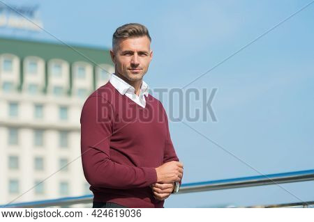 Looking Trendy. Full Of Confidence. Businessman In Informal Setting. Male Beauty Standards. Casual F