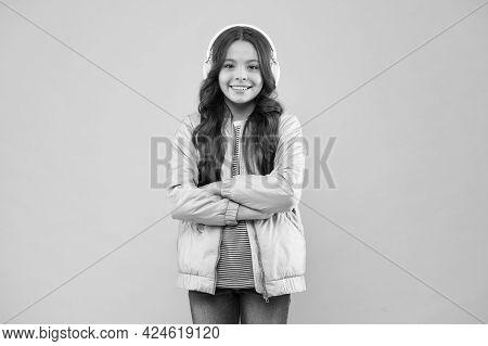 Smiling Schoolgirl. Enjoying Song Playing In Headphones. Karaoke Party Fun. Fun And Entertainment. J