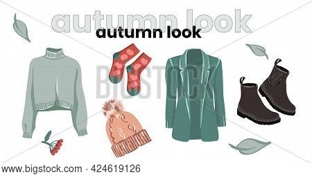 Fashionable Autumn Look In Fashionable Colors. Feminine Style For Autumn. Illustration For A Fashion