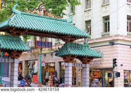 June 8, 2021 In San Francisco, Ca:  Dragons Gate Landmark Taken At Chinatown In San Francisco, Ca Wh