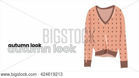 Beige Pullover, Isolated On A White Background. Sweater With A V-neck, Jacket With A V-neck. Fashion