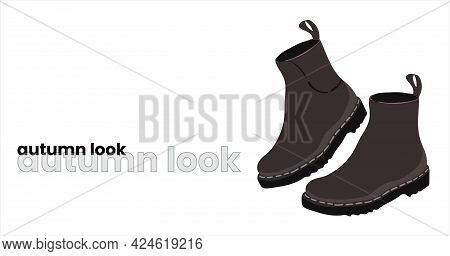 Black Autumn Boots With Thick Soles. Dark Brown Shoes, Isolated On A White Background. Fashionable A