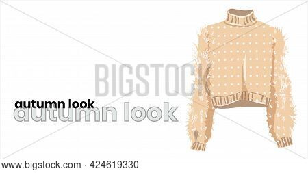 Beige Pullover With Fluffy Sleeves, Isolated On A White Background. Milky Turtleneck With White Polk