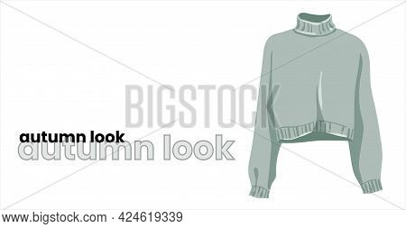 A Mint-colored Pullover With A High Collar, Isolated On A White Background. Green Turtleneck. Fashio