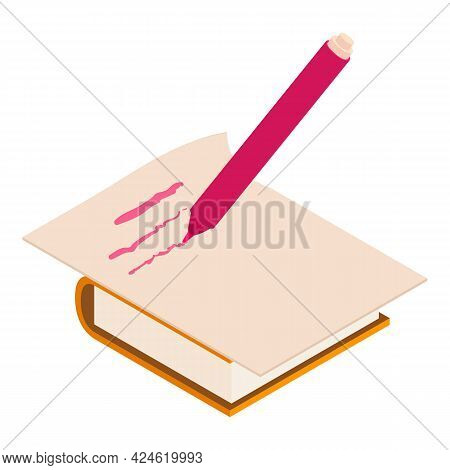 Write Marker Icon. Isometric Illustration Of Write Marker Vector Icon For Web