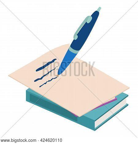 Write Pen Icon. Isometric Illustration Of Write Pen Vector Icon For Web