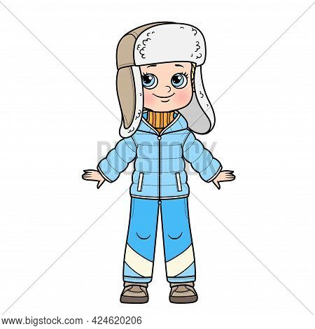 Cute Cartoon Boy In A Winter Insulated Suit And Hat With Earflaps With Fur Color Variation For Color