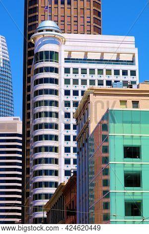 June 8, 2021 In San Francisco, Ca:  Colorful Skyscraper Buildings With A Modern Architectural Design