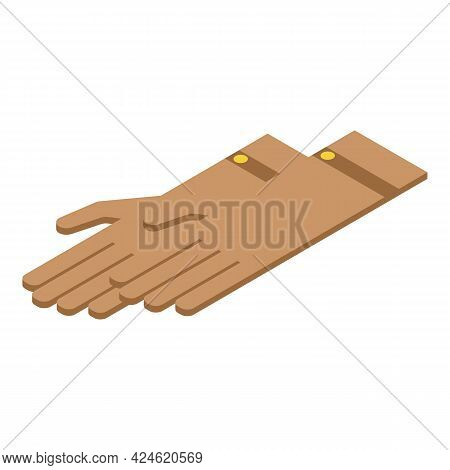 Leather Gloves Icon Isometric Vector. Safety Work Gloves. Bike Leather Gloves