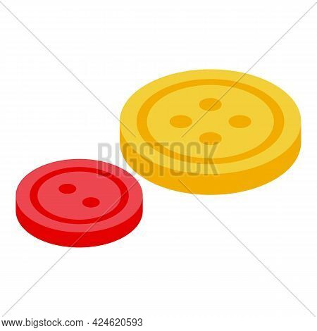 Sewing Button Icon Isometric Vector. Factory Fashion Button. Sew Cloth Craft Button