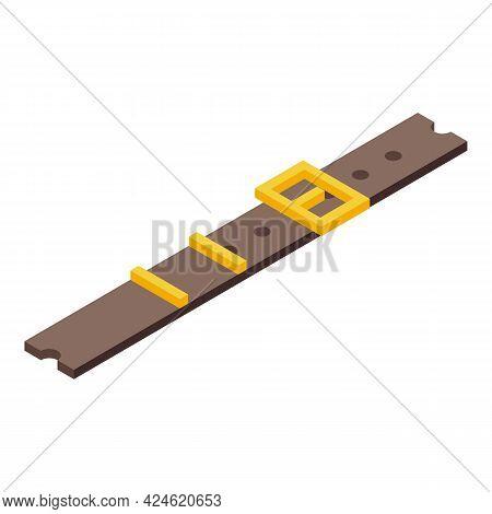 Belt Icon Isometric Vector. Buckle Belt. Fashion Man Waist Strap