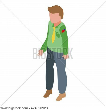 Scouting Boy Icon Isometric Vector. Scout Kid Character. Happy Ranger