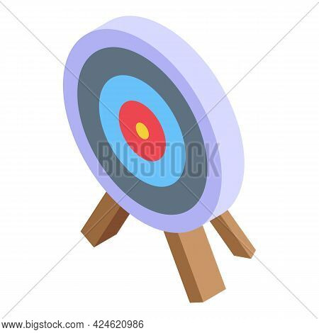 Archer Target Icon Isometric Vector. Arrow Accuracy Shot Board. Objective Challenge