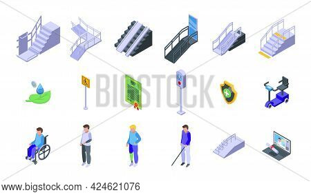 Accessible Environment Icons Set. Isometric Set Of Accessible Environment Vector Icons For Web Desig