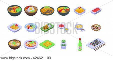 Korean Cuisine Icons Set. Isometric Set Of Korean Cuisine Vector Icons For Web Design Isolated On Wh