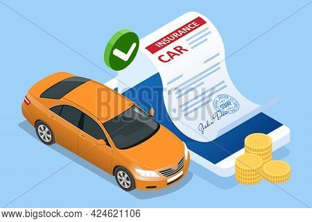 Insurance Policy. Isometric Car Insurance Services. Auto Insurance Policy With Cash And Key Fob. Pro