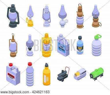 Kerosene Icons Set. Isometric Set Of Kerosene Vector Icons For Web Design Isolated On White Backgrou