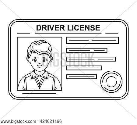 Car Driver License Identification Id Card Thin Line Icon. Right To Drive. Verification Identity. Sam
