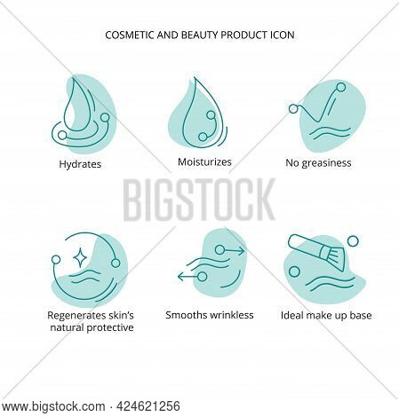 Beauty Product Icon Set For Treatment, Cream, Mask, Make Up Cosmetic. For Web, Packaging Design. Vec