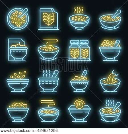 Cereal Flakes Icons Set. Outline Set Of Cereal Flakes Vector Icons Neon Color On Black
