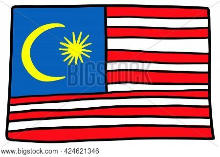 Malaysia Flag Doodle Hand Drawing Sketch Simple Vector Illustration