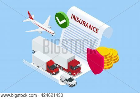 Isometric Insurance Policy Concept. Air Cargo Trucking Transportation. On-time Delivery. Vehicles De