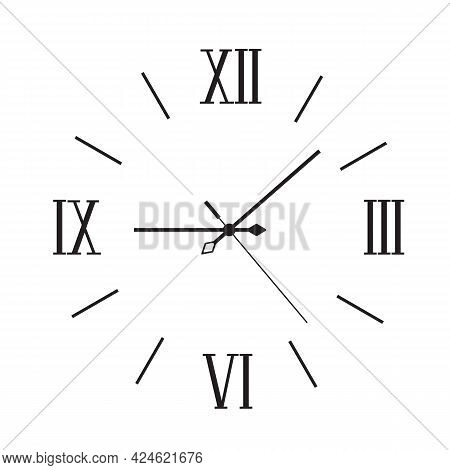 Modern Wall Clock With Roman Numerals Minimalist Style.