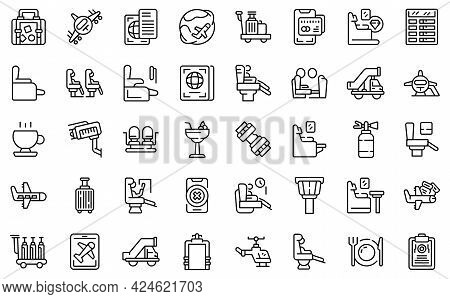 First Class Travel Icons Set. Outline Set Of First Class Travel Vector Icons For Web Design Isolated