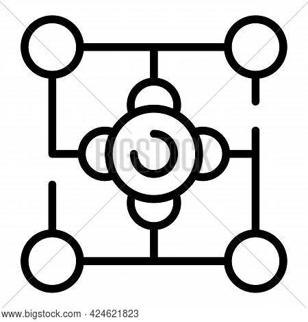 Narrow Market Molecule Icon. Outline Narrow Market Molecule Vector Icon For Web Design Isolated On W